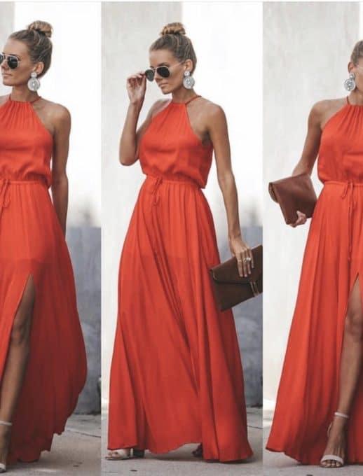 Ефирна дълга рокля в цвят корал Код 787-2