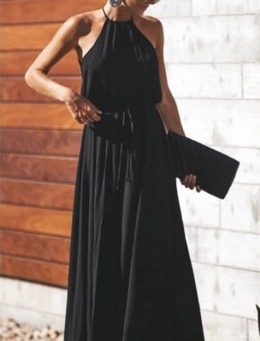 Ефирна дълга рокля в черно Код 787