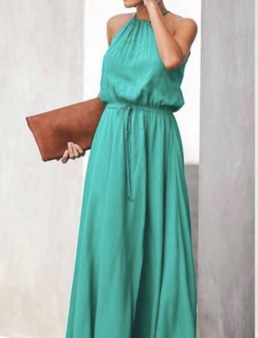 Ефирна дълга рокля в зелен цвят Код 787-1