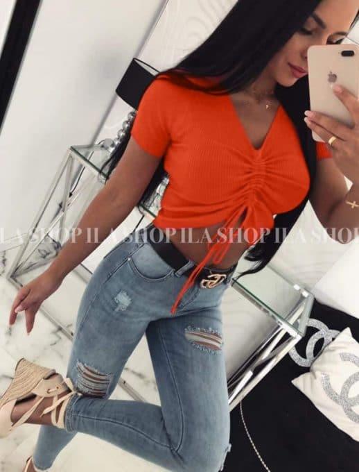Тениска в оранжев цвят с ефектни връзки код 776-3