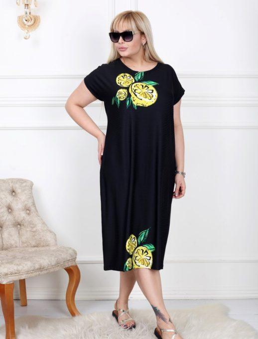 Дамска рокля в свеж десен макси размери/2-4XL/-код 741-2