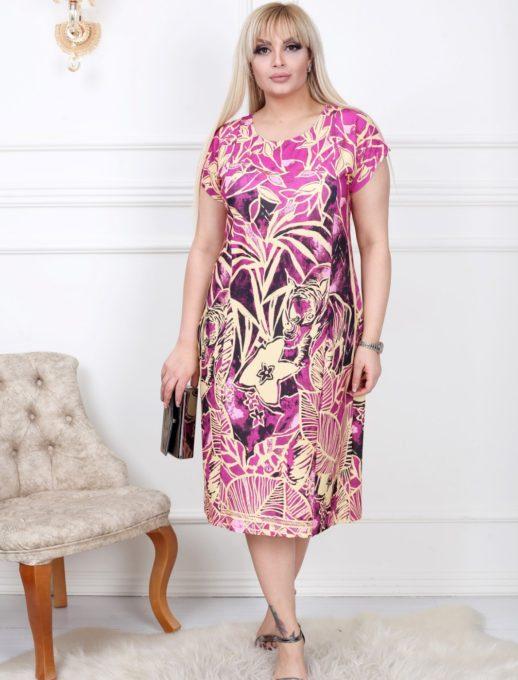 Макси рокля в цветен свеж десен/2XL,3XL,4XL/-код 741-5