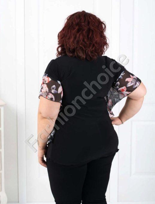 Красива дамска блуза с ефирен цветен шифон/52,54,56,58/-код 190-2