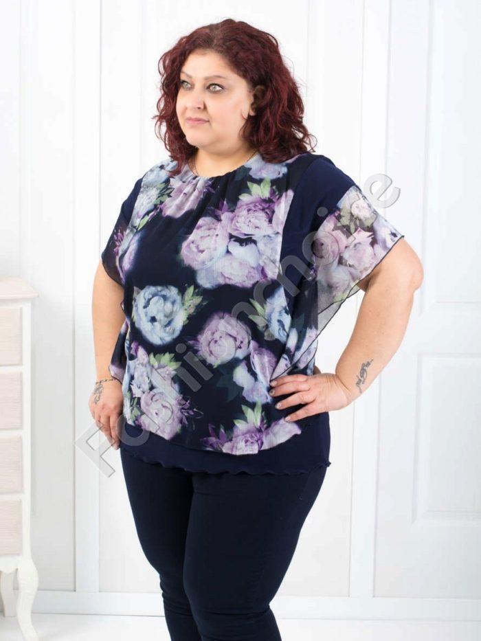 Красива дамска блуза с ефирен цветен шифон/52,54,56,58/-код 190-3
