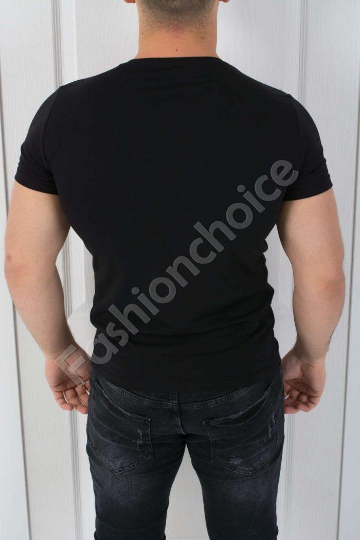Спортна мъжка тениска в черно-код 784-2