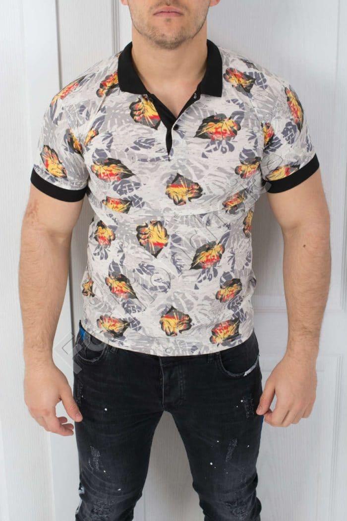 Цветна мъжка блуза с якичка-код 783-5