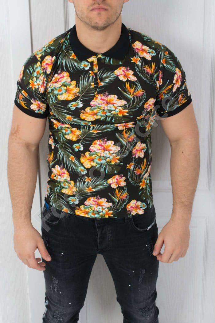 Цветна мъжка блуза с якичка-код 783-4