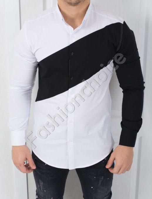 Мъжка риза в бяло с контрастен ръкав 00042-1