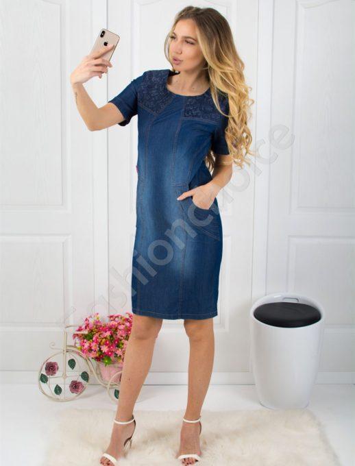 Дамска дънкова рокля с дантела-код 027-166