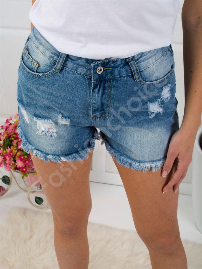 Дънкови къси панталонки с накъсан ефект-код 305-2475