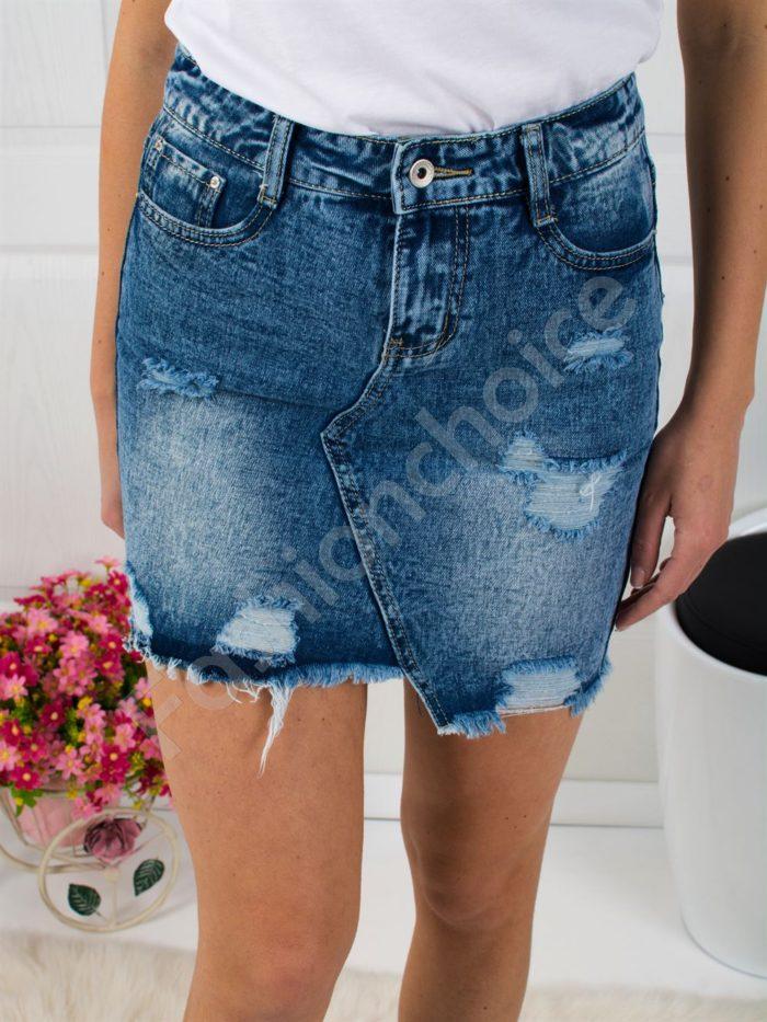 Дънкова къса пола с изтъркан и накъсан ефект-код 305-7680