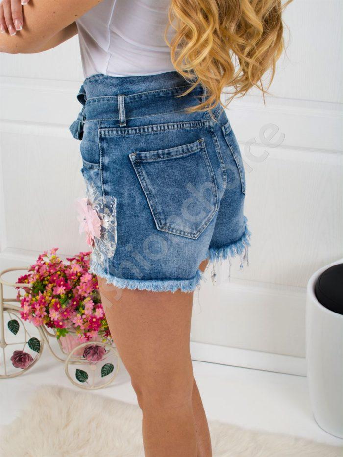 Дънкови къси панталонки с висока талия и коланче-код 307-9591