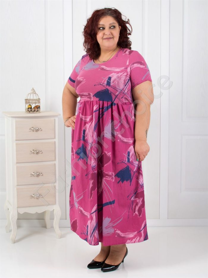 Дълга макси рокля с цветни мотиви в три цвята-код 530-18624