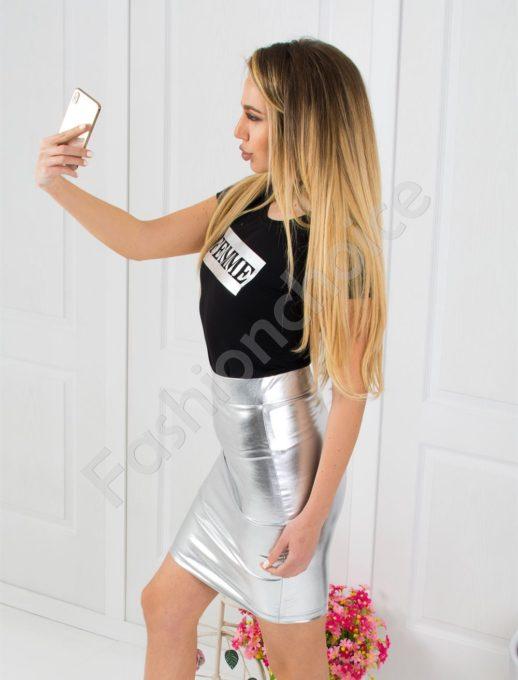 Дамски сет сребърна пола и блузка-код 798-7220