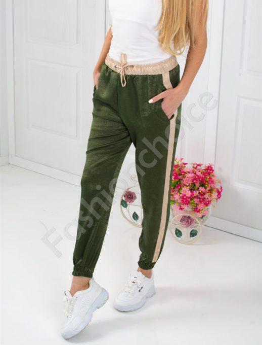Дамски панталон от сатен в цвят каки-код 804-1