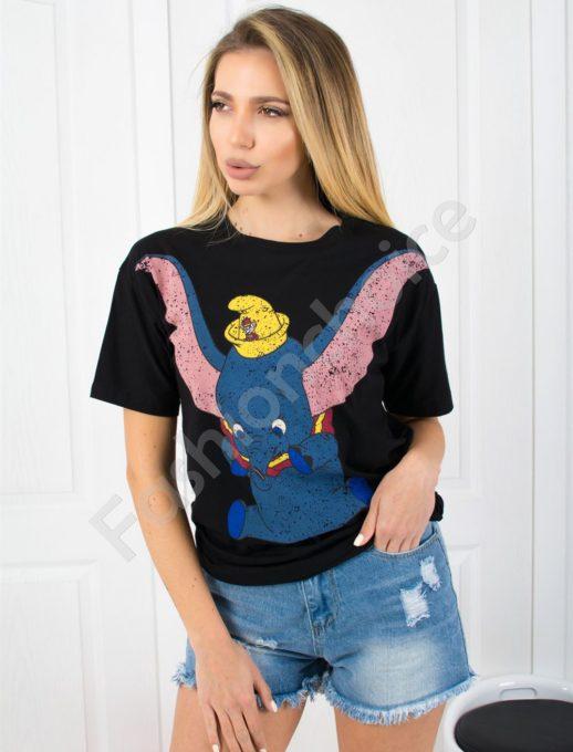 Дамска тениска в черно със свободна кройка -код 802