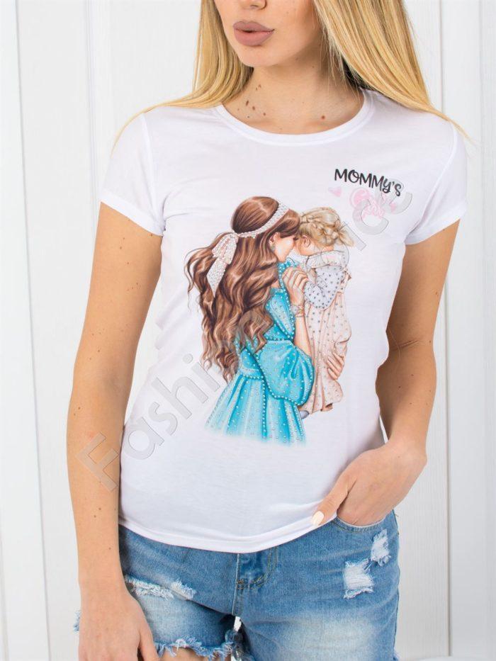 Дамска блузка с нежна щампа и камъчета -код 801-3