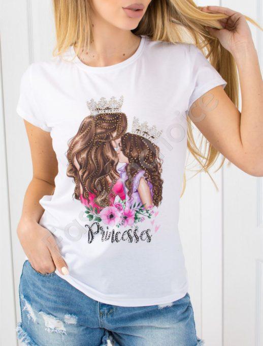 Дамска блузка с нежна щампа и камъчета -код 801-1
