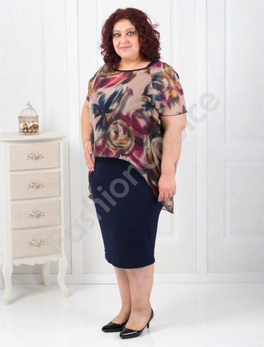 Нежна макси рокля с флорален шифон-код 4044-1