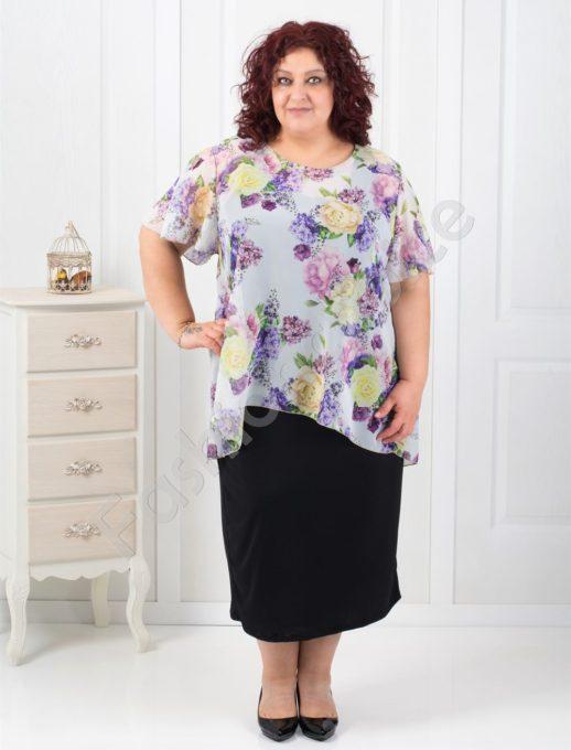 Нежна макси рокля в комбинация с цветен шифон-код 0585-5