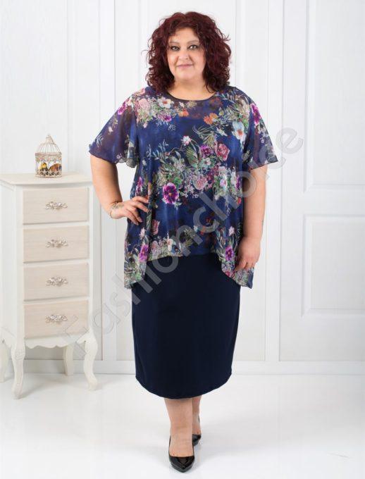 Нежна макси рокля в комбинация с цветен шифон-код 0585-3