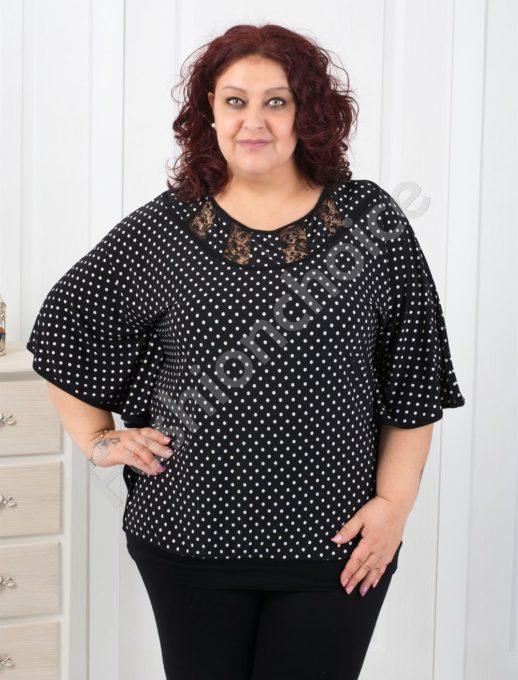 Сладка макси блуза в черно на бели точки-код 251-1075-1