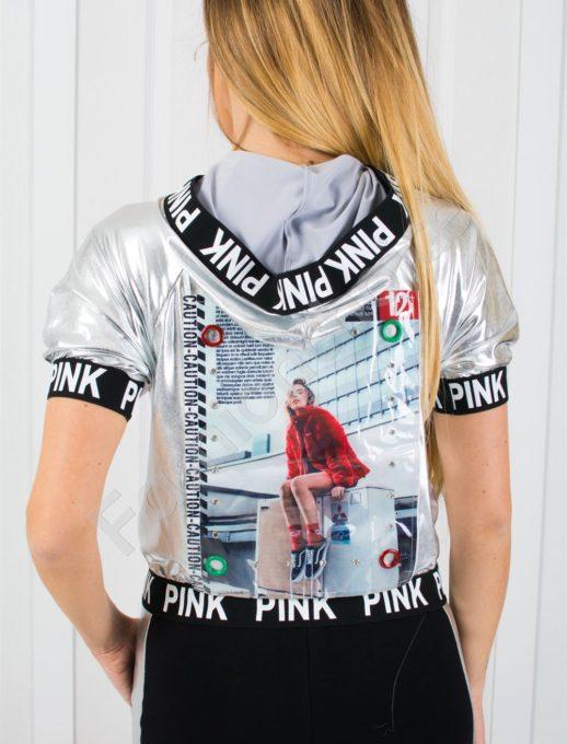 Дамски екип PINK с промазка в сребрист цвят-код 818-1