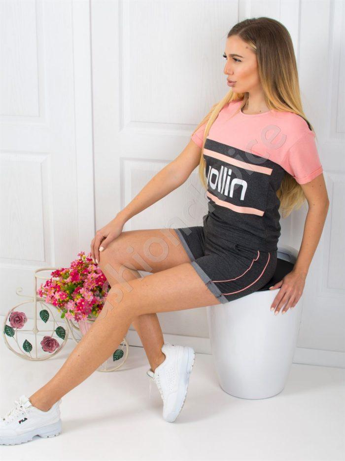 Дамски спортен екип с къси панталонки-код 925-2