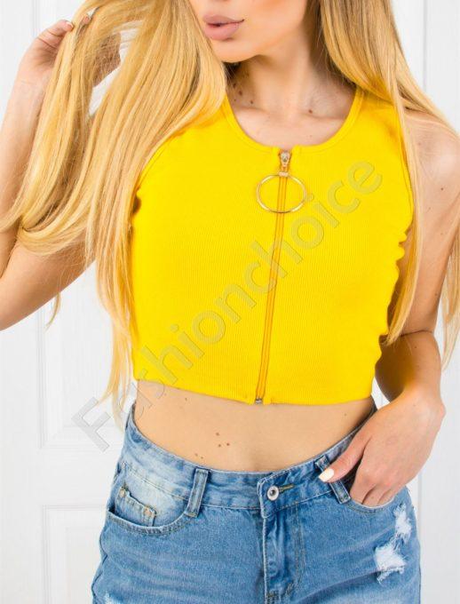 Дамски топ с ципче и халка в жълто-код 830-1