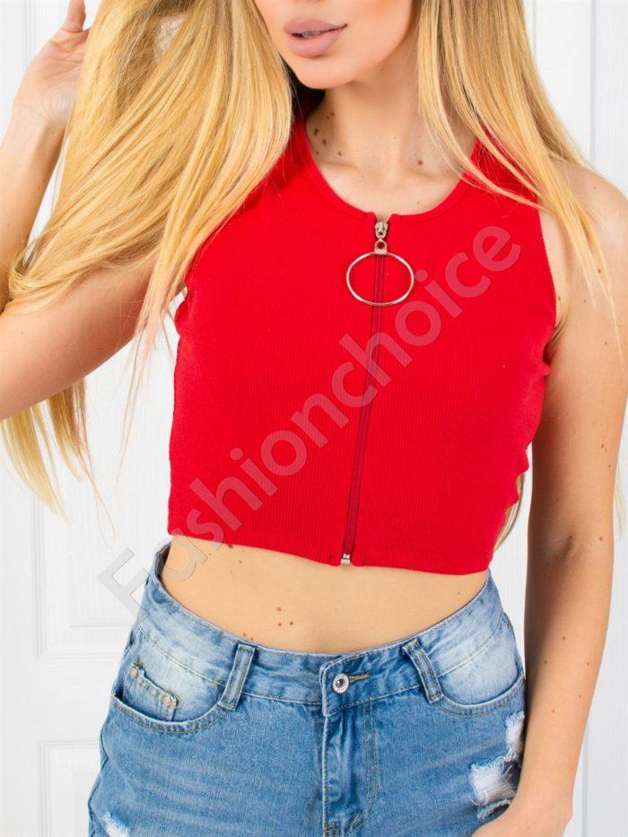 Дамски топ с ципче и халка в червено-код 830-3