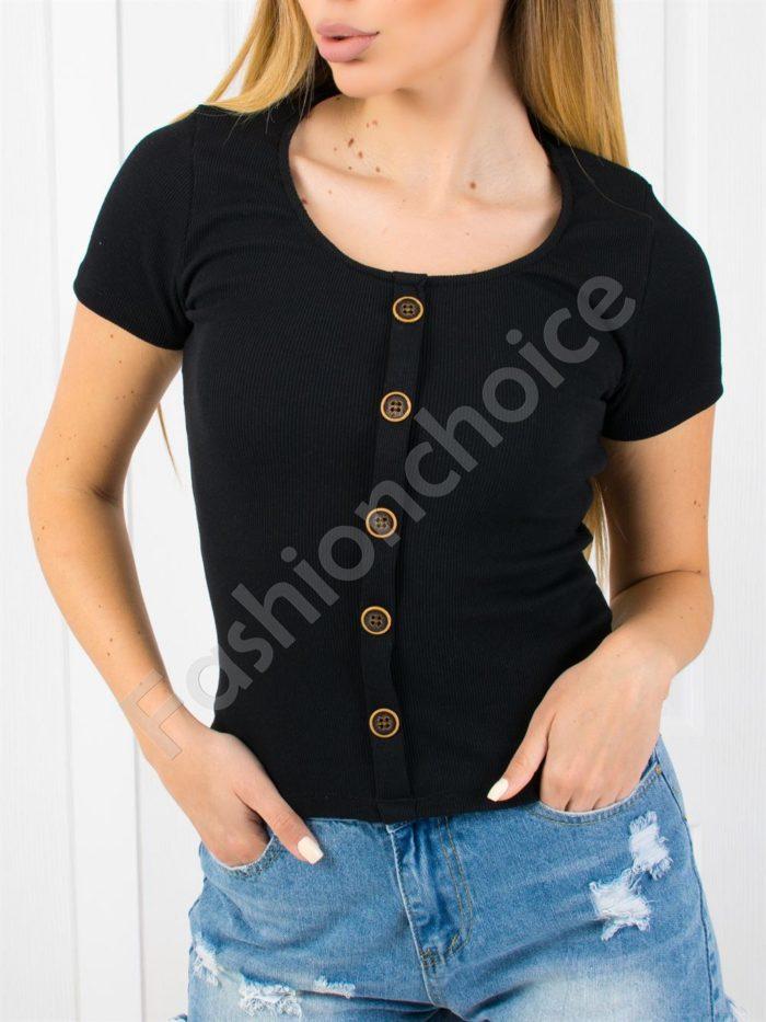 Дамска блузка от фин рипс с копчета-код 1533