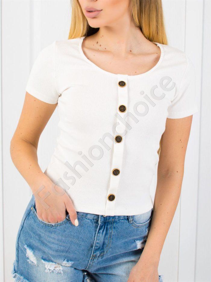 Дамска блузка от фин рипс в цвят шампанско-код 1533-1