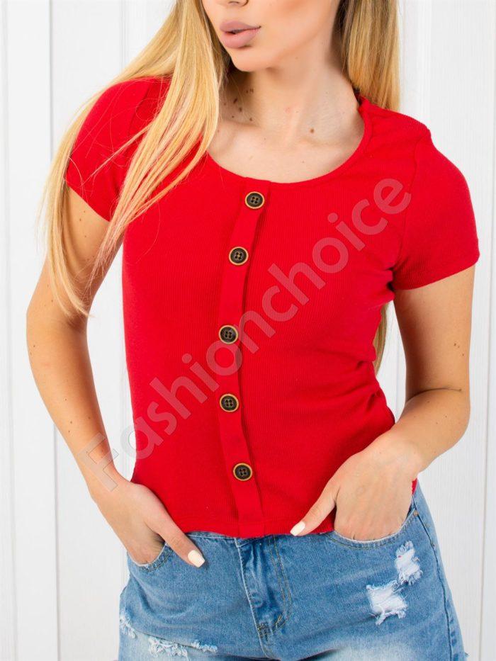 Дамска блузка от фин рипс с копчета-код 1533-3