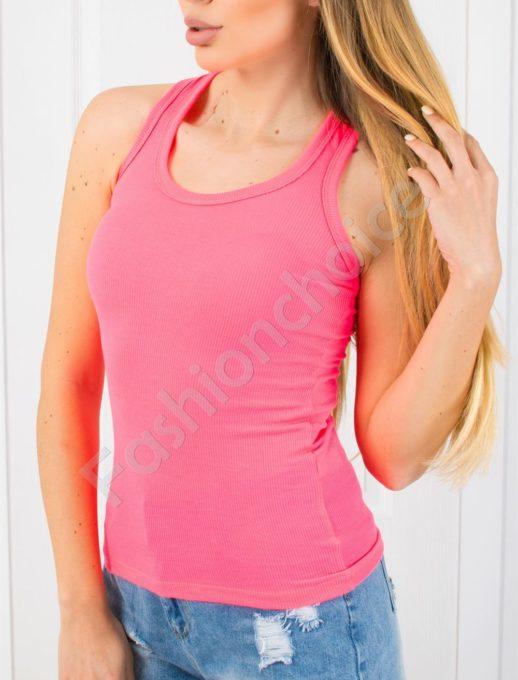 Дамски топ от фин рипс с изрязан гръб в розов неон-код 824-4