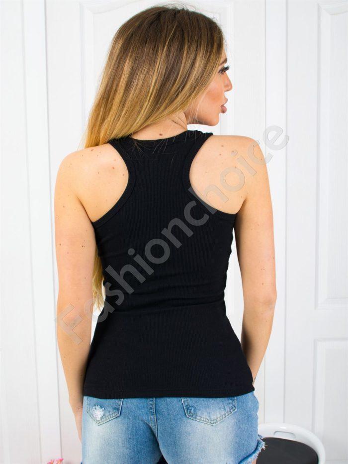 Дамски топ от фин рипс с изрязан гръб в черно-код 824-5