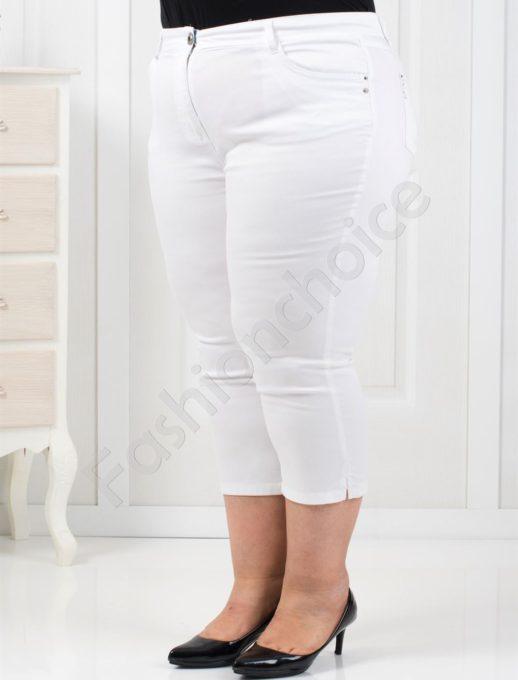 Чудесен тънък 7/8 панталон в бяло/52-60/-код 838-1