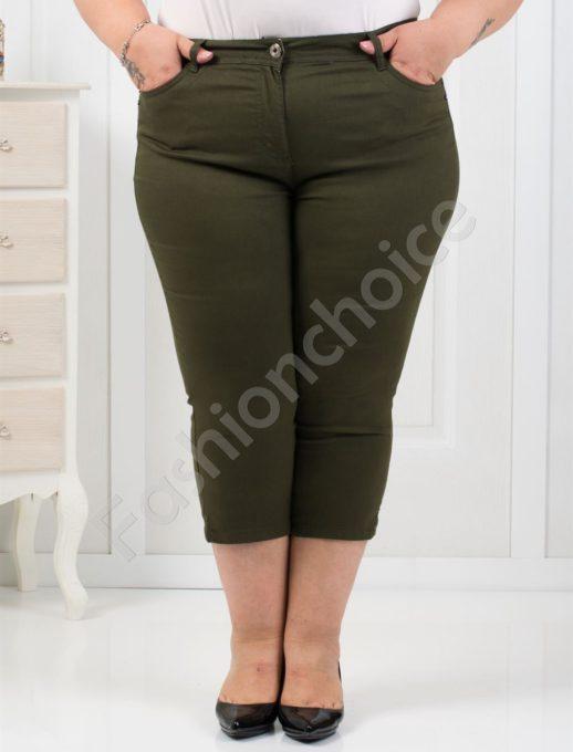 Чудесен тънък 7/8 панталон в цвят каки/52-60/-код 838-2