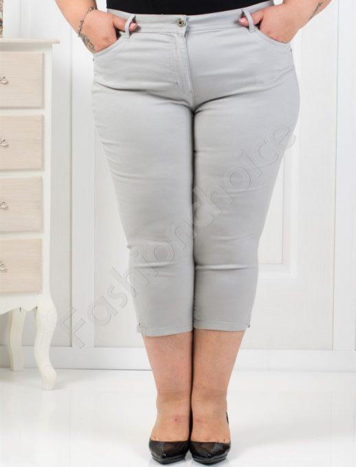 Тънък 7/8 панталон в нежно светло сиво/52-60/-код 838-4