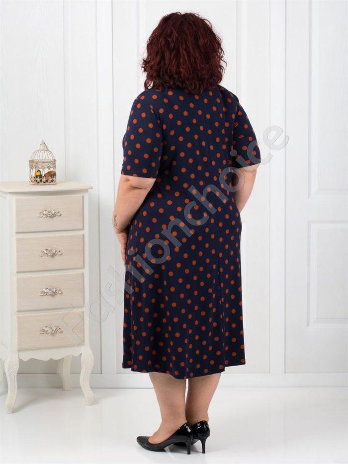 Дълга макси рокля в тъмно синьо на точки-код 7127