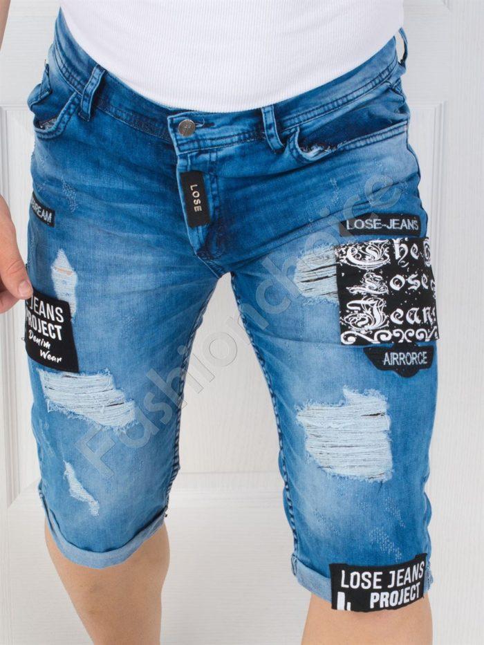 Модерни мъжки накъсани дънки с кръпки-код 147-1
