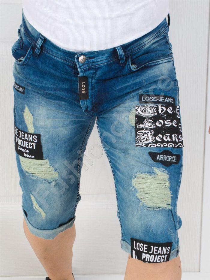 Модерни мъжки накъсани дънки с надписи-код 147-4