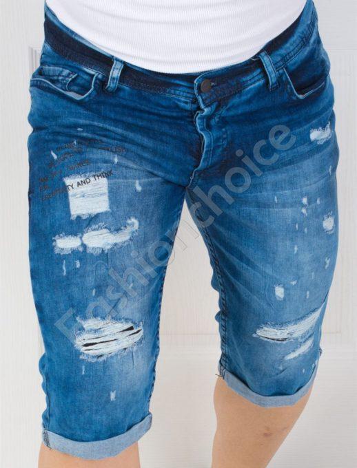 Дънкови къси панталонки с щампа-код 141