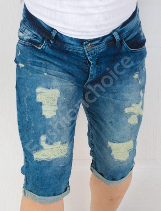 Мъжки дънкови панталонки в тъмен деним-код 137-2