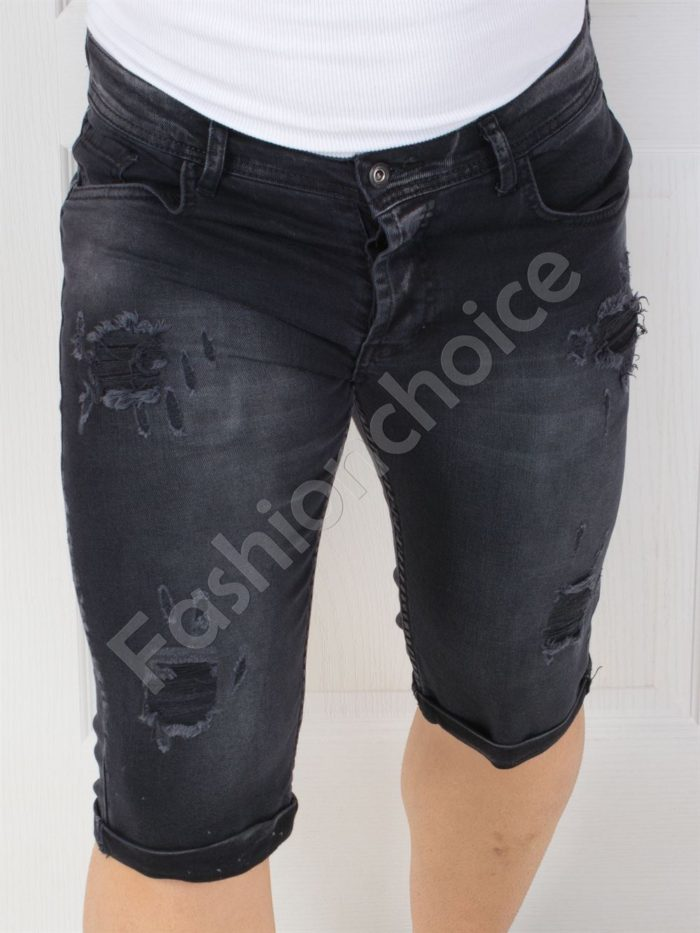 Мъжки накъсани дънки в черно-код 10159