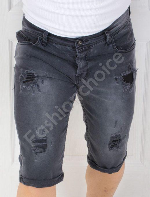 Мъжки накъсани дънки в черно-код 10159-1