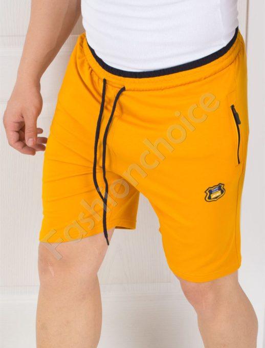 Мъжки панталонки в цвят горчица с джобчета-код 845-2