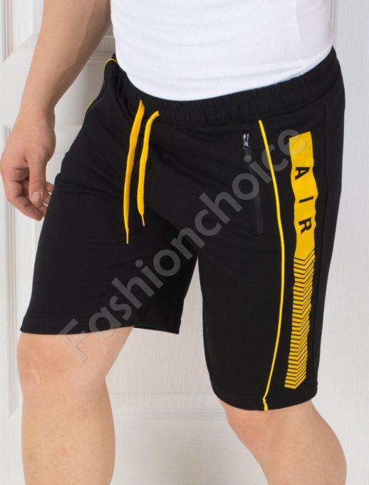 Къси мъжки панталонки с жълт кант-код 3010