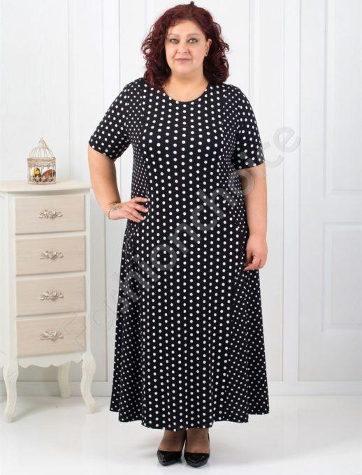 Прекрасна разкроена макси рокля в черно на бели точки-код 084