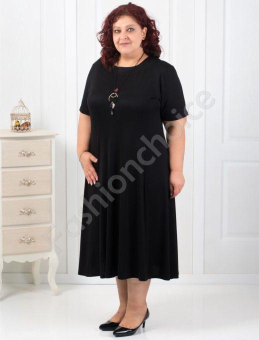 Дълга макси рокля в черно+подарък нежно бижу-код 6085-2
