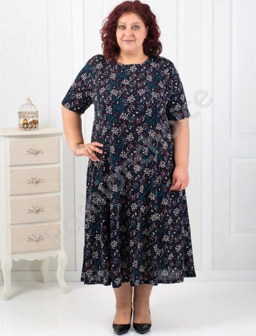 Разкроена макси рокля на красиви ситни цветя/5XL-6XL/-код 6085-4